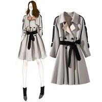 Nowy 2017 moda jesień kobiety plaid trench coat talii łuk krawat dorywczo klasyczny styl odzieży wierzchniej