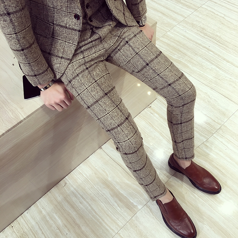 Autumn Winter Mens Plaid Pants British Slim Fit Dress Pants Men Plus Size Pantalon Carreaux Homme Casual Formal Pants For Men