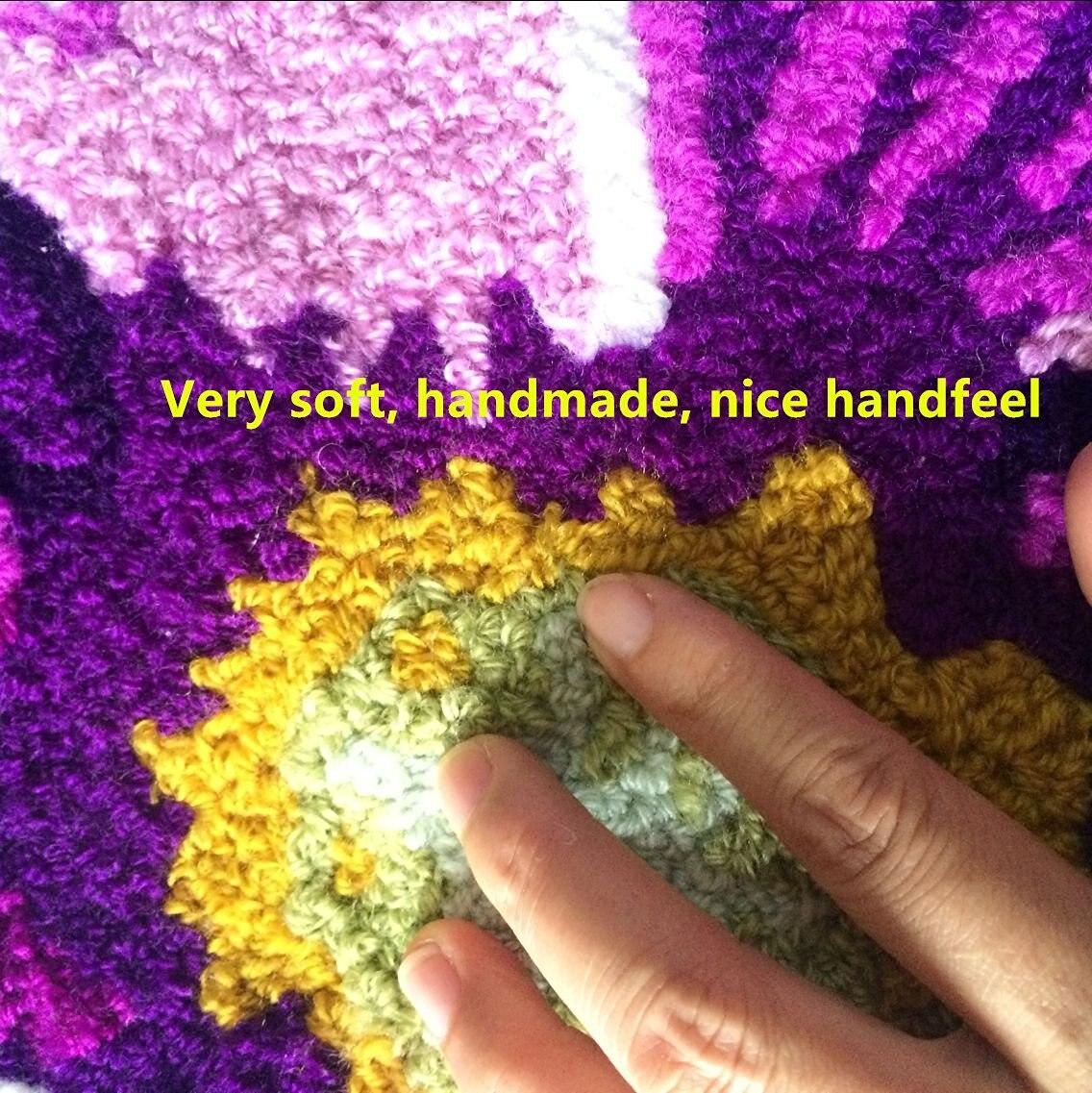 """66 см* 66 см ковер ручной работы фиолетовый и белый цветочный дизайн спальный коврик нескользящий ковер/ковер, 25,"""" x 25,6"""""""