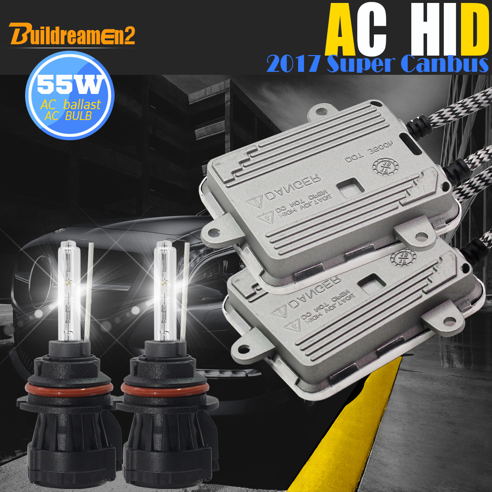 цена на Buildreamen2 55W 9007 Bi Xenon Hi/Lo Canbus HID Kit AC Ballast Lamp Decoder No Error Flicker 3000K-8000K 12V Car Light Headlight