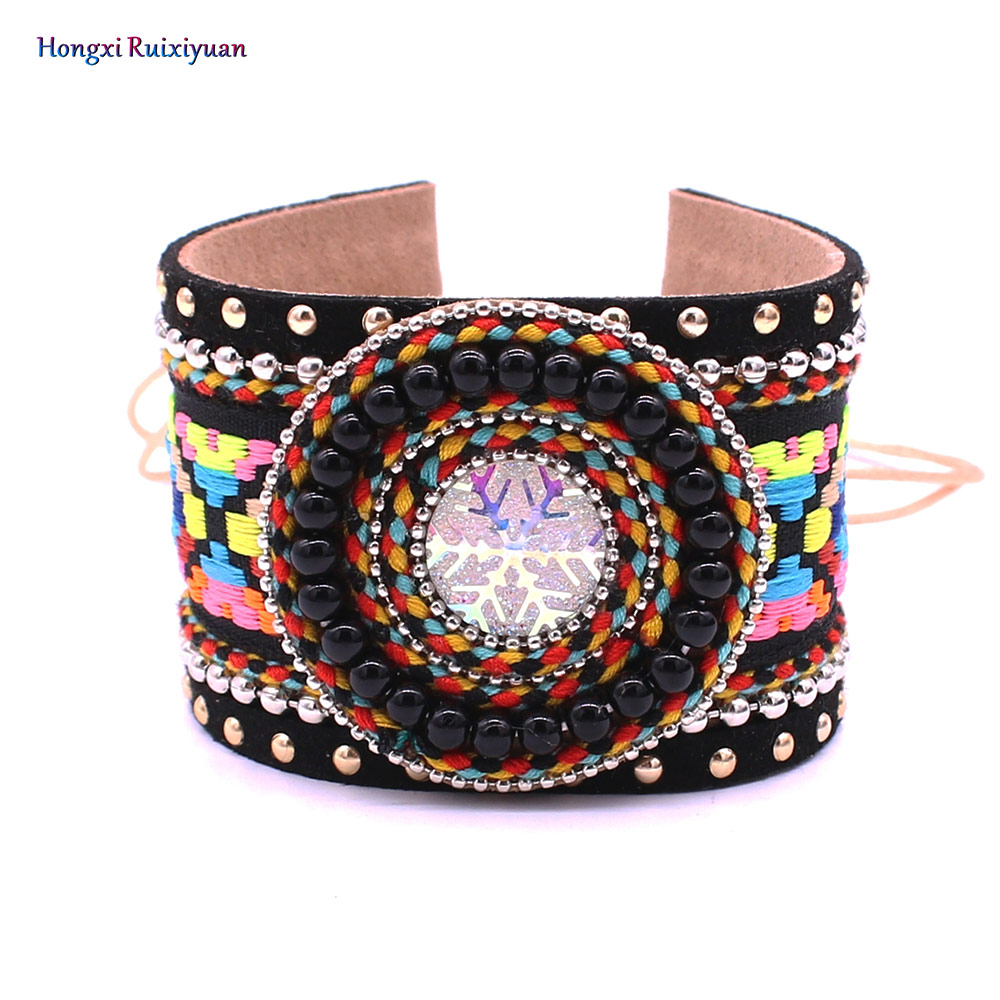 Onlyee Bohemian Ornaments Snowflake Color Embroidered Pattern Bracelet Bangles Gypsy Leather Friendship Bracelet
