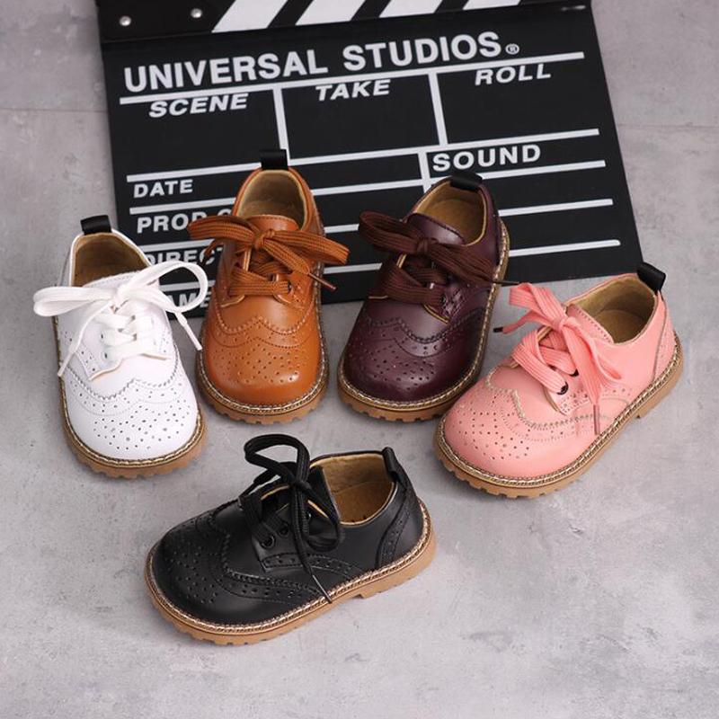 2019 new Children's leather casual shoes single shoes retro British boys&girls baby soft shoes