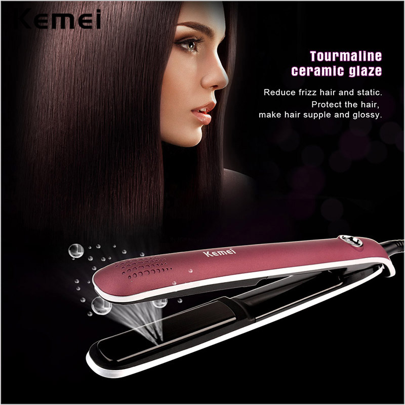 Negative Ions Function Flat Iron Tourmaline Ceramic Plate LCD Professional Hair Straightener Fast Electric Straightening Irons kemei professional tourmaline ceramic hair straightener flat iron straightening irons styling tools lcd display with 2m cable p0
