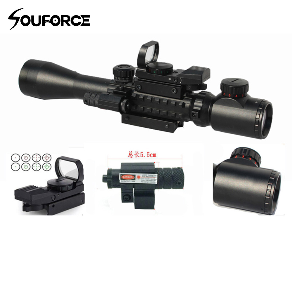 Tactical 3-9X40 3 in 1 Red Dot Reflex Riflescope With 20mm Dovetail Red Laser Optics Sniper Scope Sight for Hunting tactical 3 9x40 3 in 1 red dot reflex riflescope with 20mm dovetail red laser optics sniper scope sight for hunting