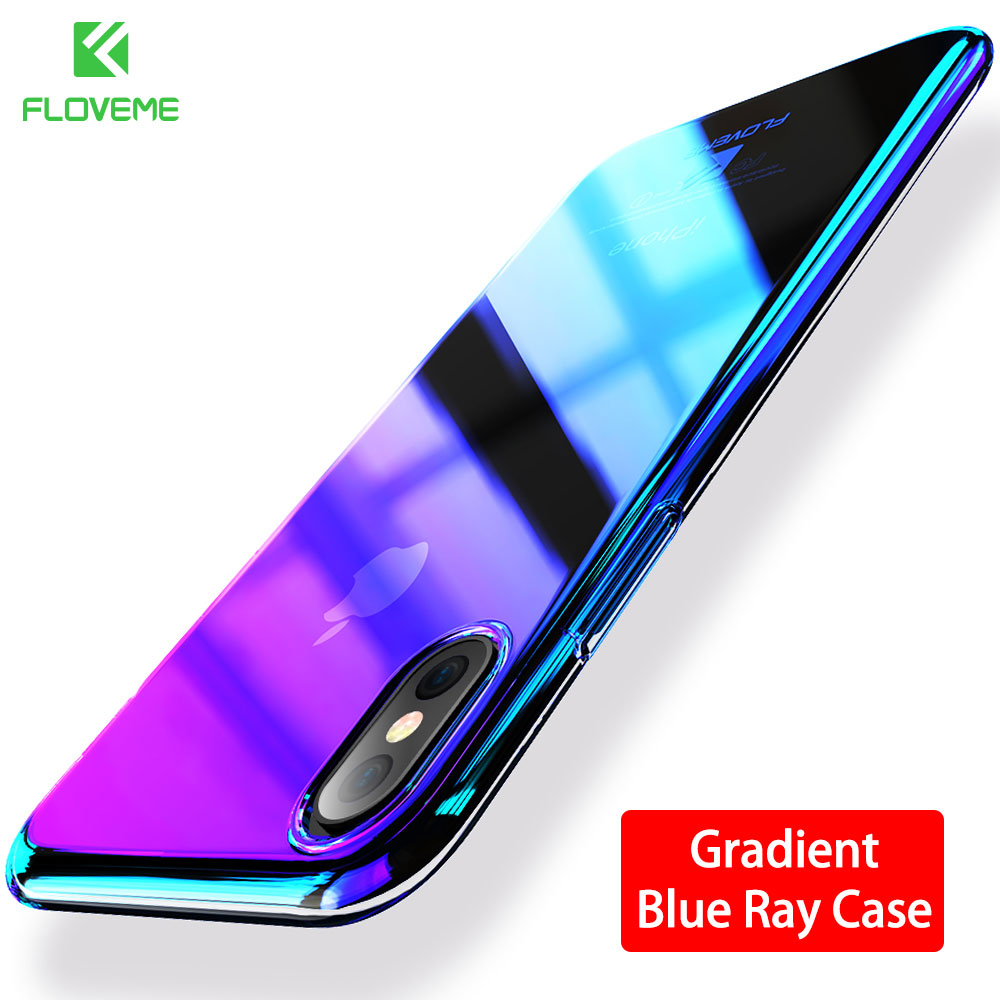 FLOVEME Case For iPhone X Luxury Case Gradient Hard Clear Cover For iPhone X 10 Ten Changing Color Case