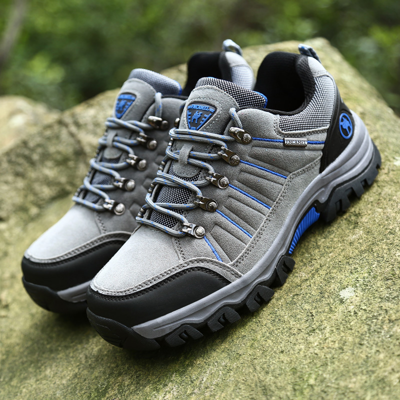 Autumn Winter Men Hiking Shoes Outdoor Waterproof Trekking Shoes Hunting Boots Suede Leather Mountain Climbing Shoes