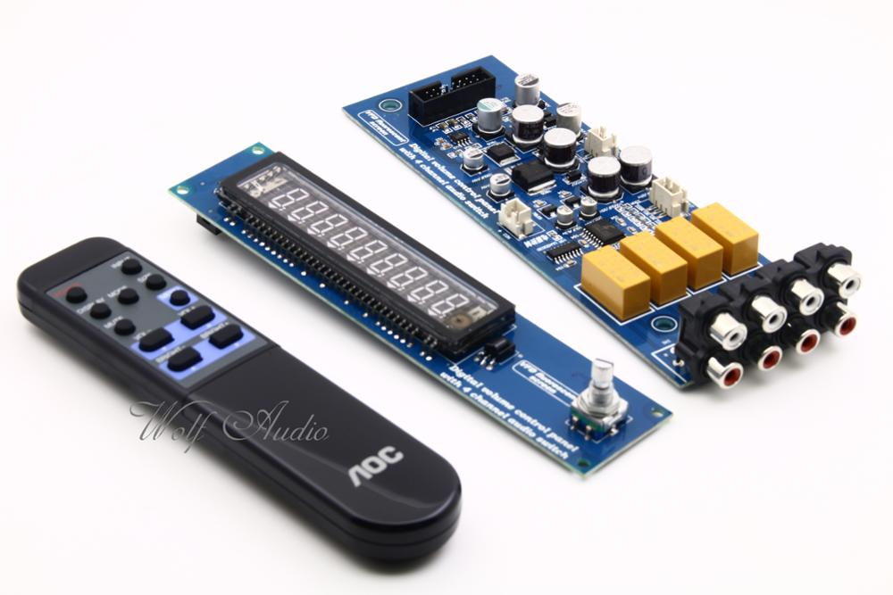 CS3310 Remote Preamplifier Board With VFD Display 4-way Input HiFi Preamp Remote Control Digital Volume Control Board интегральная микросхема hifi remote volume control preamp