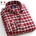 Langmeng Primavera otoño 2016 mens marca moda clásica camisa a cuadros de manga larga camisa ocasional de los hombres outwear camisas de franela caliente