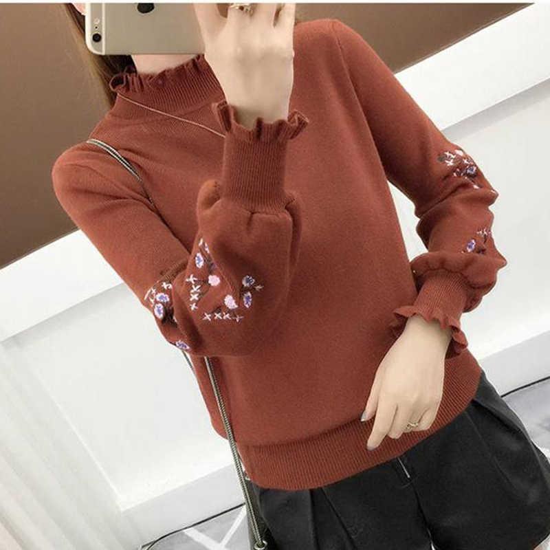 Корейский стиль, Женский пуловер с вышивкой и рукавом-бабочкой, Модный осенне-зимний женский вязаный свитер, уличная водолазка, джемпер