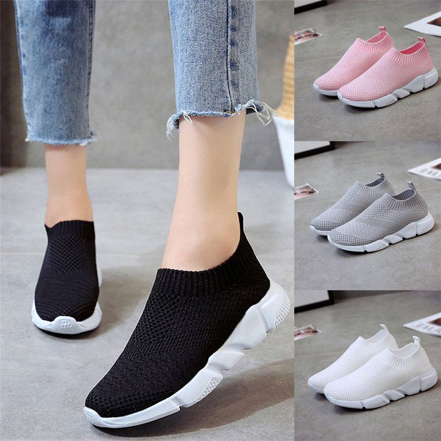 Shoes Ladies Fashion Shoes Women Outdoor Mesh Shoes Casual Slip On Comfortable Soles Running Sports Casual Shoes For Ladies(China)