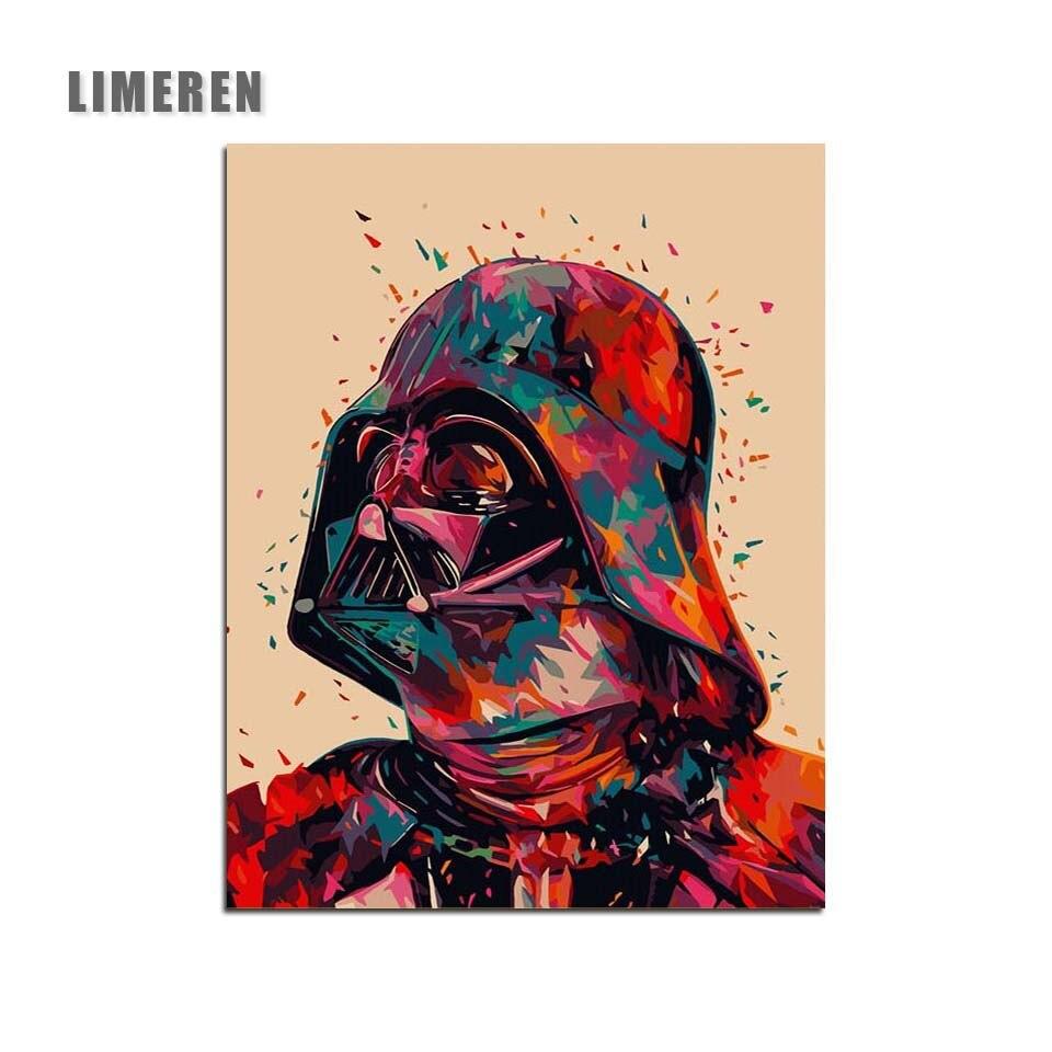Star Wars 7 Darth Vader DIY Öl Digitale Malerei Durch Zahlen Auf Leinwand Hand Gemalt Film Wand Kunst Bild Wohnzimmer room Home Decor
