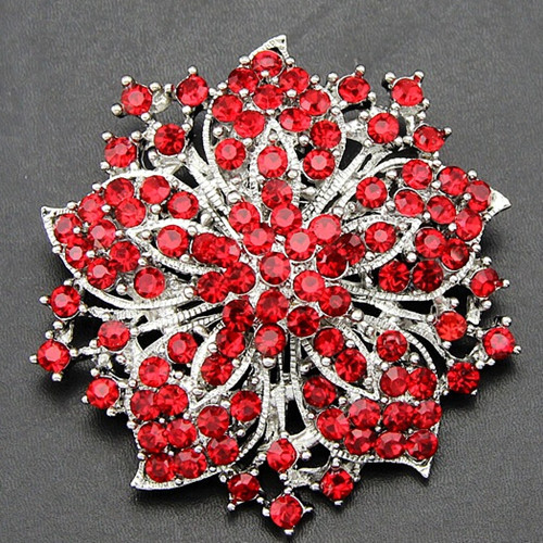 Hot Selling Elegant Red Crystal Flower Wedding Bridal Dress Pin Brooches Special Jewelry Gift Vintage Brooch For Women