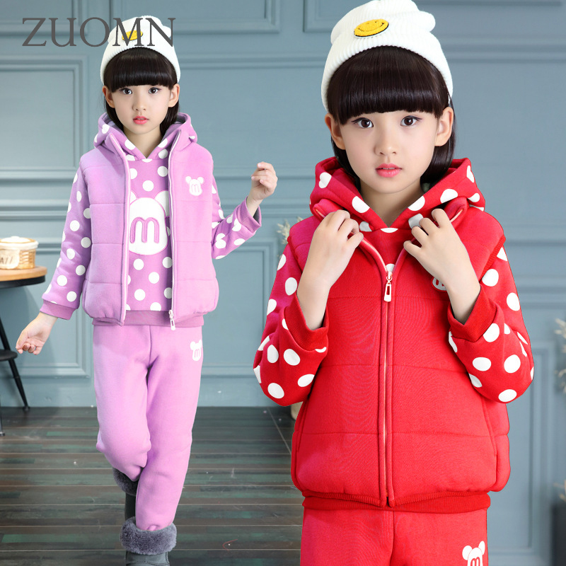 3PCS Girls Winter Sets Teens Clothes for Girls Pants Children's Winter Coat Kids Suits Warm Rabbit Ear Thick Clothing GH278  blazing teens 3