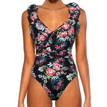 LISM 2019  NEW Flower Print Bikini Sexy Backless Swimwear Bathing Suit Girl Swimming With For Lotus leaf Beachwear Seaside Pool