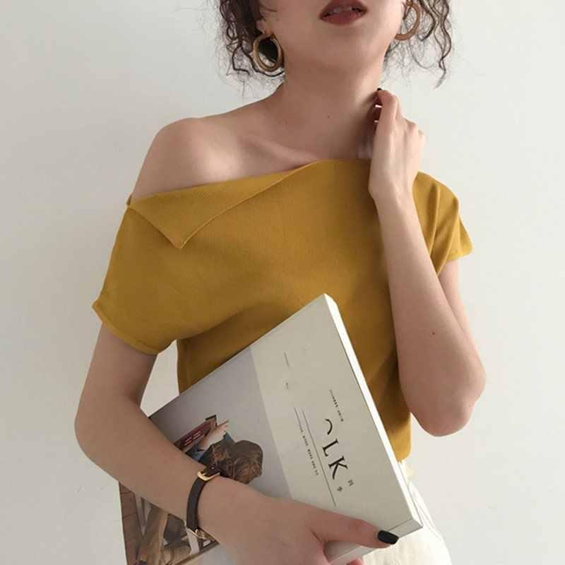 2019, корейский стиль, вязаный Топ, женская футболка, летняя, сексуальная, на одно плечо, ледяной шелк, трикотажная футболка, повседневная, уличный стиль, футболки, 7 цветов