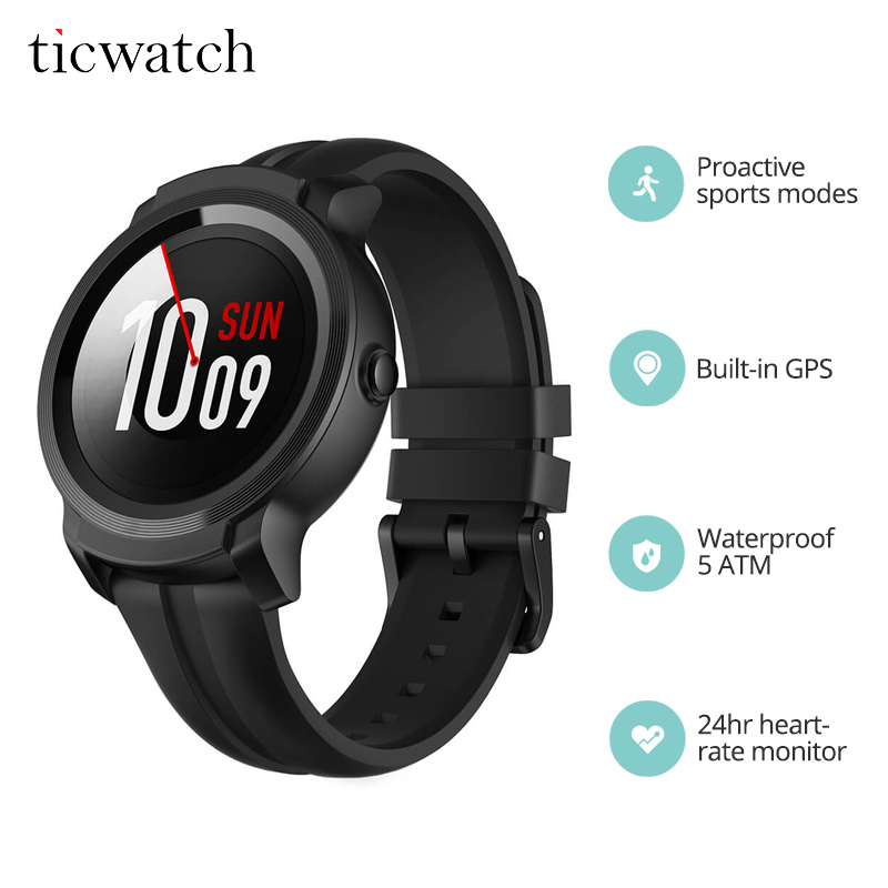 Ticwatch E2 Smart Watch Fitness Bluetooth WiFi Android Wear GPS Sports Watch 5 ATM Waterproof and Swim Ready with Sensors & Mic