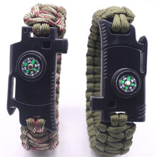 Braided Bracelet Men Women Paracord Outdoor Survival Bracelet Multifunction Camping Rescue Emergency Rope Bangles Compass Knife emak survival watch outdoor camping medical multi functional compass thermometer rescue paracord bracelet equipment tools kit