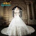 Luxo cristal Beading Vestido de baile querida Vestido de noiva 2016 catedral trem Vestido de noiva sem mangas Vestido de noiva personalizar
