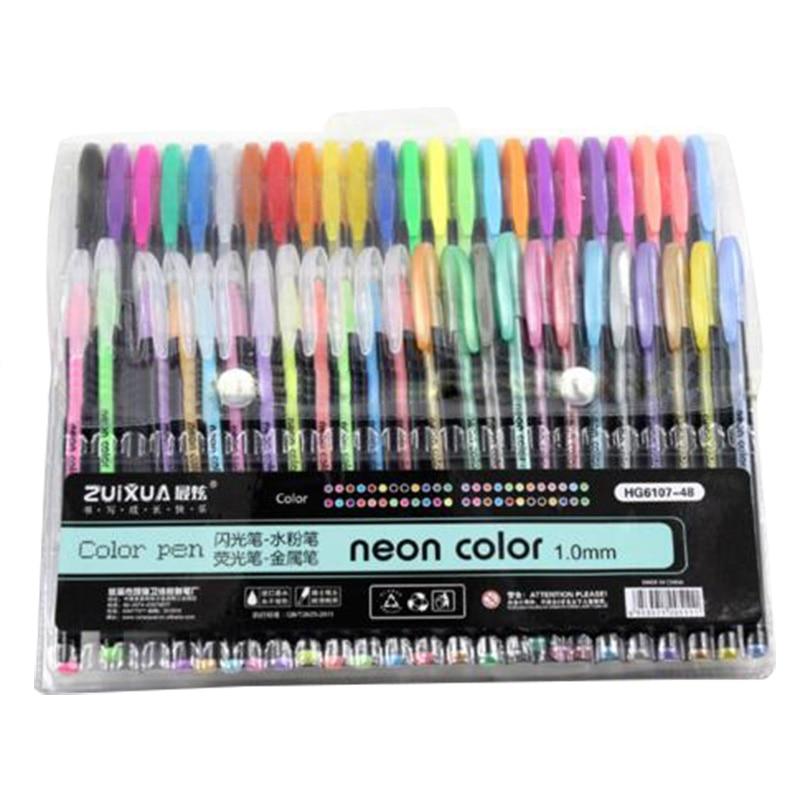 ZUIXUAN 48 Gel Pens set Cor canetas gel Glitter Metallic canetas Bom presente Para Colorir Crianças Desenhar Pintura Desenho