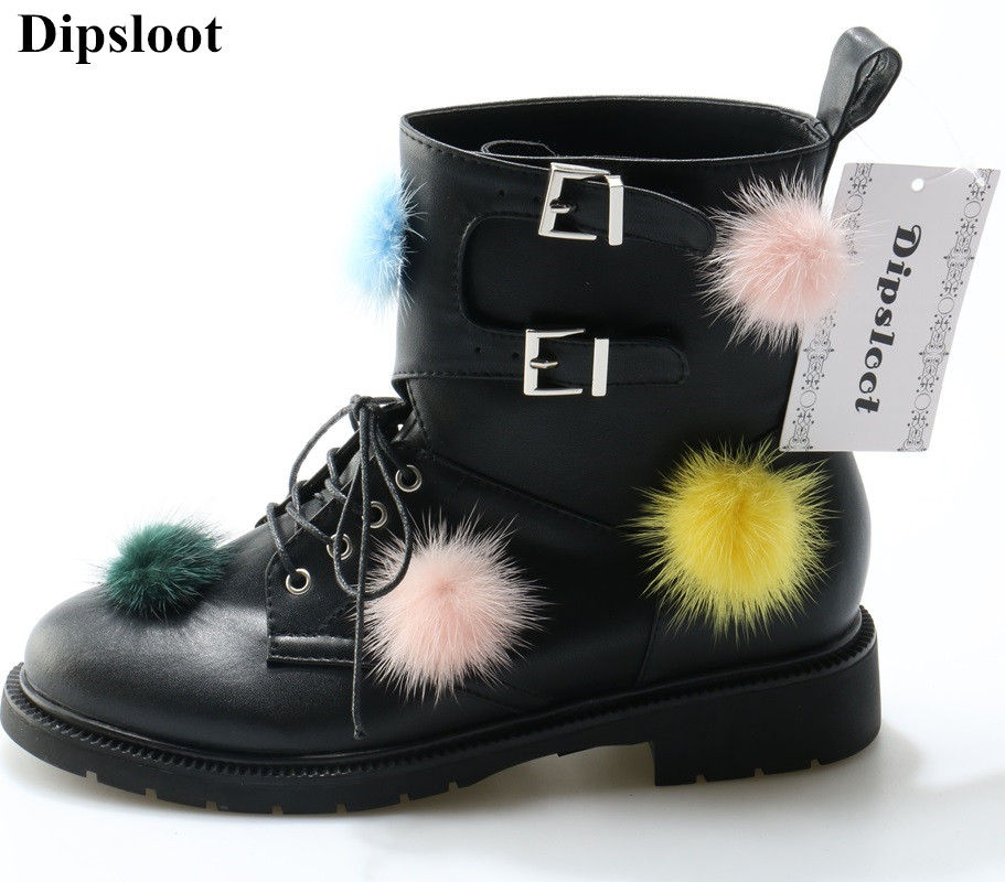 The Newest Design 2018 Colorful Fur Ball Embellished Woman Ankle Boots Round Toe Square Low Heels Riding Boots Girls Short Boots