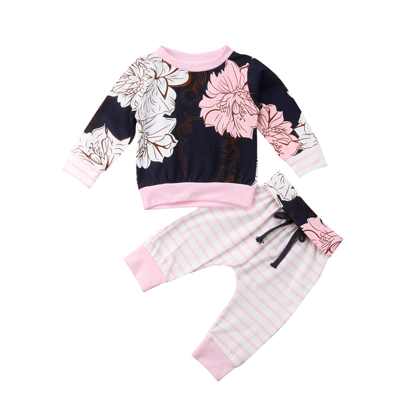 Cute Newborn Baby Girl Clothing Set Newest Floral Outfits Set 2PCS Long Sleeve Sweatshirt Pullovers T-shirt+ Pants Clothes Sets