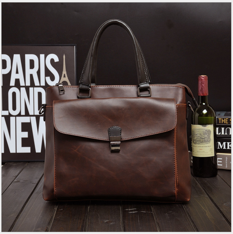 Office Bags For Men Portafolio Work Bag A4 Data File Bag Sac De Travail Homme Documents PU Leather Coffee Business Briefcase New