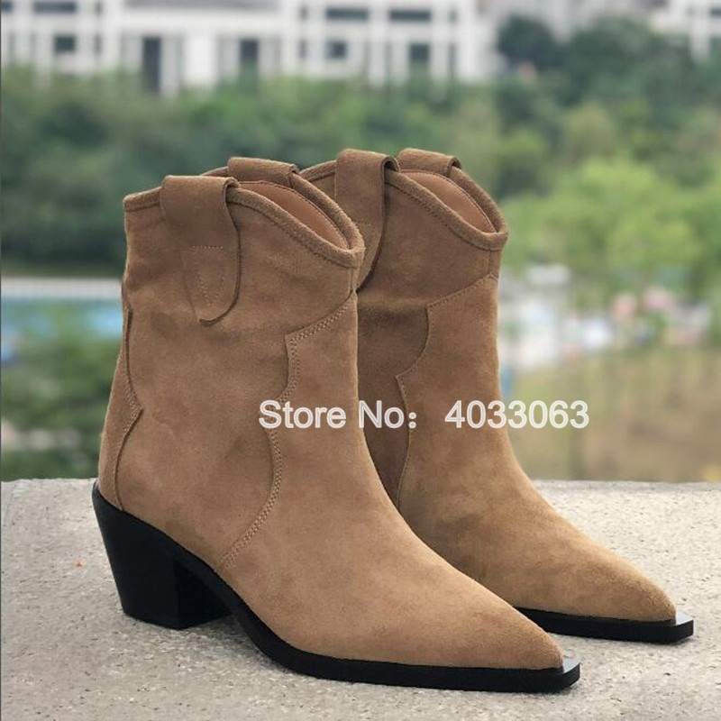 New 2019 Runway Autumn Shoes Western Cowboy Boots For Women Suede Leather Low Heel Ankle Boots Pointed Toe Med Heels Botas Mujer