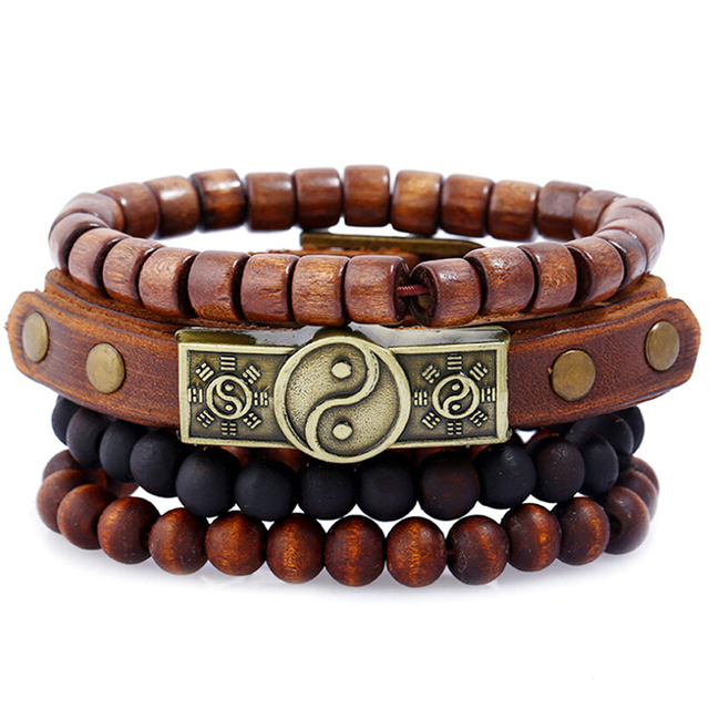 Four Layers Men Bracelet with Wood and Leather Combination
