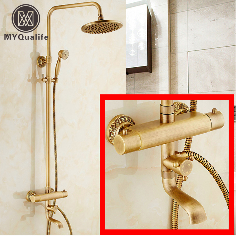 Luxury Wall Mount 8 Rain Shower Faucet Set with Thermostatic Mixer Valve Mixer Taps Antique Brass + Handshower chrome finish 8 inch shower faucet bath shower mixer taps brass wall mount shower arm abs handshower brass mixer valve