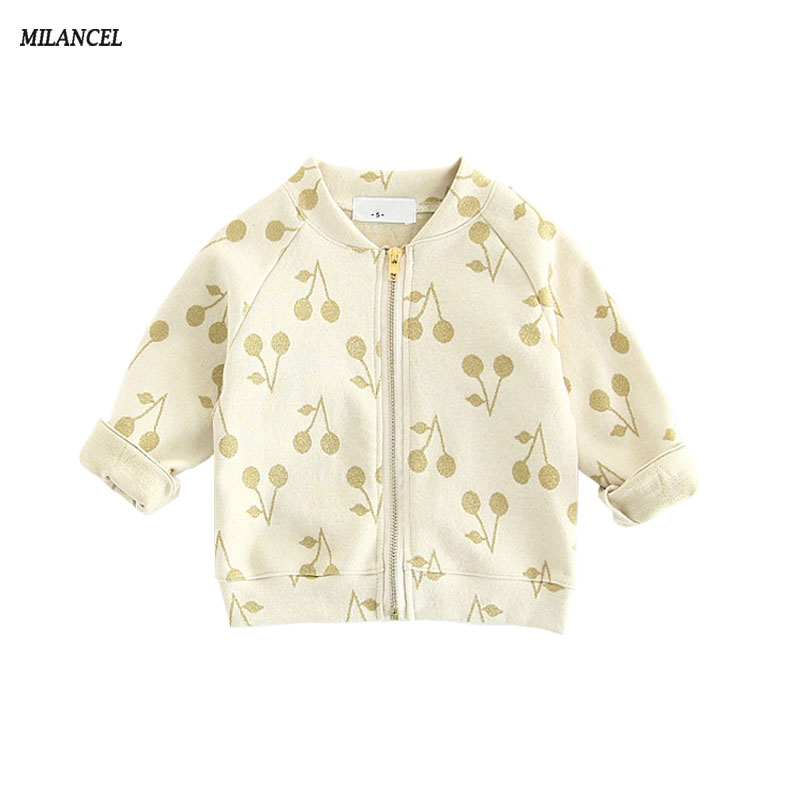 2017 Spring Autumn Baby girls sweatshirt cotton cherry print coat for girls boys zipper jacket kids