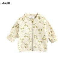 2017 Printemps Automne Bébé filles sweat coton cerise imprimer manteau pour filles garçons zipper veste enfants enfants de survêtement