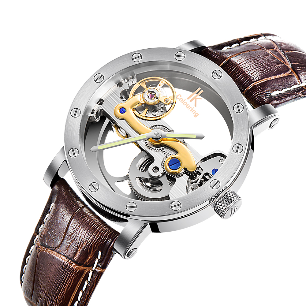 цены Luxury Brand IK Colouring Leather Strap Transparent Dial Golden Case Mens Watches Automatic Mechanical Orologio Men