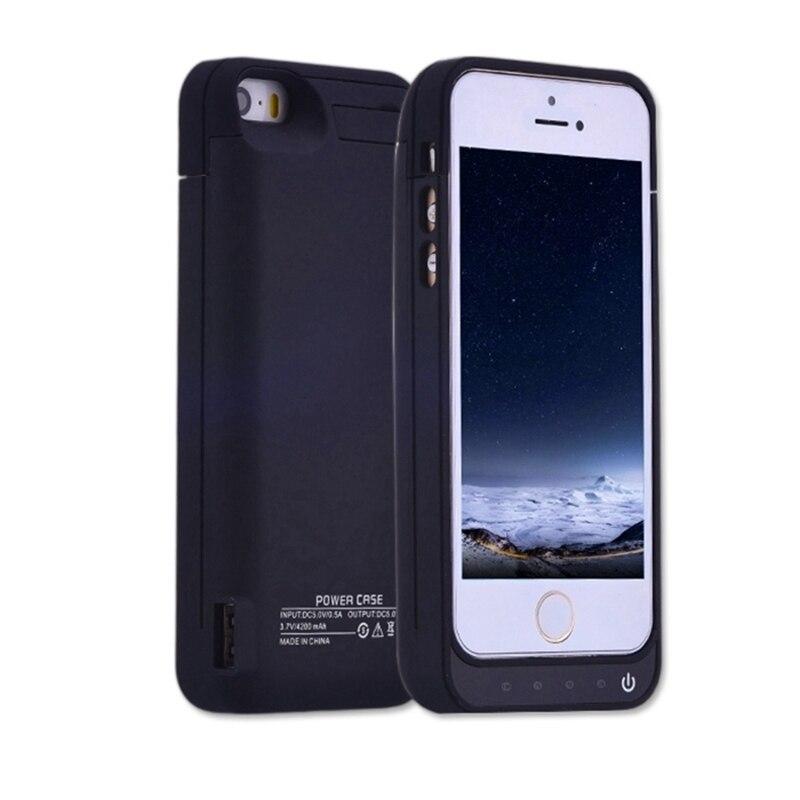f2593471e6a Caja de batería para iphone 5 5g 5s 5c se 4200 mAh cargador caso ...