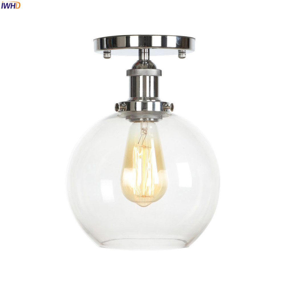 IWHD Glass Ball LED Ceiling Light Fixtures Living Room Porch Edison Vintage Ceiling Lamps Luminaire Lighting Lamparas De TechoIWHD Glass Ball LED Ceiling Light Fixtures Living Room Porch Edison Vintage Ceiling Lamps Luminaire Lighting Lamparas De Techo