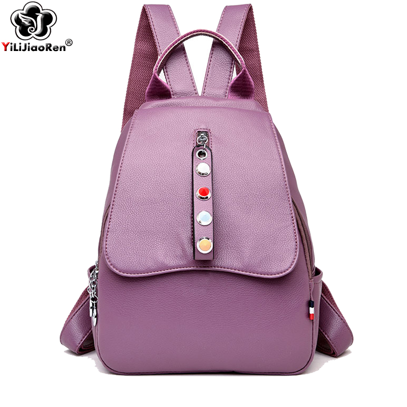 Fashion Pearl Zipper Women Backpack Purse Brand Leather Backpack Female Large Capacity School Bags for Girls Mochila FemininaFashion Pearl Zipper Women Backpack Purse Brand Leather Backpack Female Large Capacity School Bags for Girls Mochila Feminina