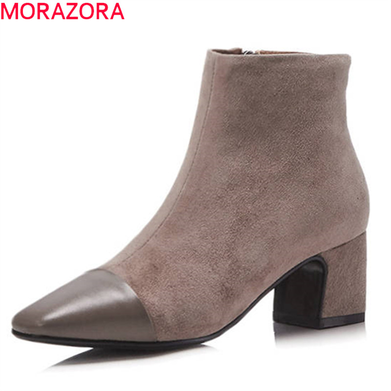 MORAZORA 2018 new mixed colors fashion boots pointed toe short plush autumn winter ankle boots for women square heel lady boots hollow pointed lady rough heel short boots