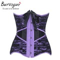 Burvogue new woman gothic lace satin corset bustier steel boned waist slimming purple/champagne underbust corselet sexy corset