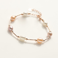 24K color-protected rose gold pearl bracelet Elegant temperament natural jewelry Colorful small