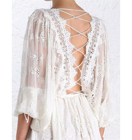 Australian Beauty Backless Clothes Back Strap Embroidery White Lace Holiday Dress Celebrity Fashion High Quality Vestido