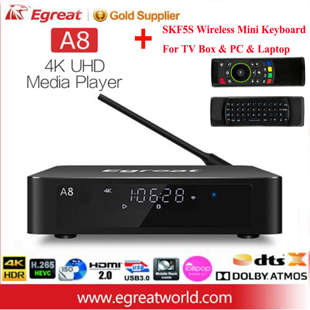 Egreat A8 UHD Media Player Professional 4K Android 5.1 Smart TV Box Bluetooth 4.0 3.5'' HDD SATA HDMI2.0 HD Set-top Box Keyboard egreat a5 smart android 5 1 tv box 3d 4k uhd media player with hdr usb3 0 support sata ota blu ray disc dolby ture hd dts hd