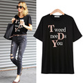 summer tee white Polo Shirt Size loose coat T-shirt printing letters Tweed needs you  short sleeved T-shirt girl R357
