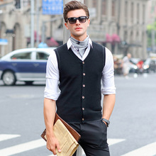 New Men's Wool Knit Vest V Neck Fashion Casual Basic Sweater for Autumn Winter Tops