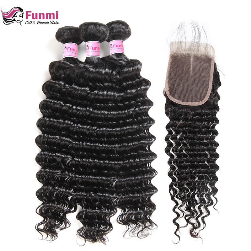 Funmi Malaysian Deep Wave Bundles With Closure Double Weft Virgin Human Hair Weave 3 Bundles With Closure Natural Black Color