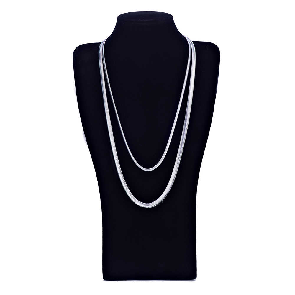 Wholesale 4MM 6MM 316L Titanium Steel Flat Snake Chain Necklace Fashion Unisex Jewelry Long 20-28inches Christmas Gift