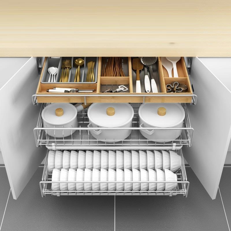 Organizar Para Armario Almacenaje Platos Despensa Organizador De Aço Inoxidável Escorredor de pratos Rack de Armazenamento Do Armário Da Cozinha Cesta