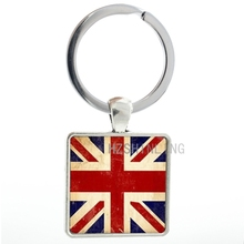 Vintage Union Jack keychain England Banner reat Britain United Kingdom Flag keyring men women charms UK Flag key chain AA102