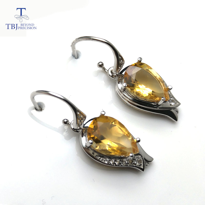 TBJ blooming flower Hook earrings with natural brazil citrine pear 8 12 6ct up gemstone in