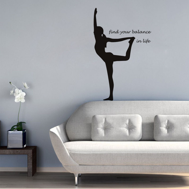 US $9.59 6% OFF|Creative Yoga Dance Girl Wall Stickers Find your balance in  your life Letter Quotes Home Decorative Wallpaper Wall Art Decal-in Wall ...