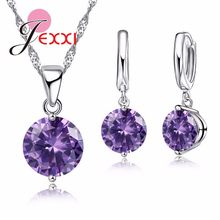 e84ff2504466 JEXXI moda 925 plata esterlina colgante collar pendientes establece para  las mujeres chica austríaco juegos de joyería Cristal d.