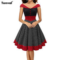 Tonval Vintage Polka Dot 1950S Pin up Cotton Dress Women Sexy Off Shoulder Evening Party Rockabilly Elegant Dresses